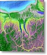 Finger Lakes Map Art Metal Print by Paul Hein