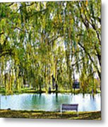 Finger Lakes Weeping Willows Metal Print