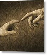 Fingers Almost Touching Metal Print