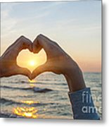 Fingers Heart Framing Ocean Sunset Metal Print
