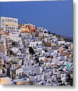 Fira Town During Dusk Time Metal Print