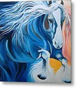 Fire And Blue Ice Metal Print