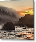 Fire And Fog At Trinidad Metal Print by Adam Jewell