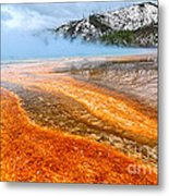 Fire And Ice - Grand Prismatic Spring On A Cloudy Day. Metal Print