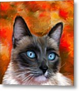 Fire And Ice - Siamese Cat Painting Metal Print