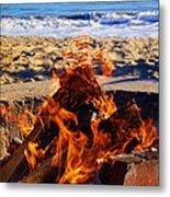 Fire At The Beach Metal Print