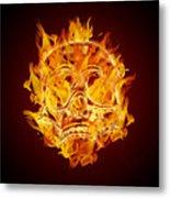 Fire Burning Flaming Skull Metal Print