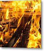 Fire - Burning Wood Metal Print