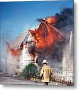Fire Department On Scene With Flames Showing Metal Print