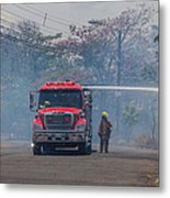 Fire Engine Fighting A Small Fire Metal Print