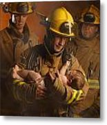 Fire Fighters Rescuing A Baby Metal Print by Don Hammond