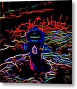 Fire Hydrant Bathed In Neon Metal Print