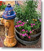 Fire Hydrant With Flowers Metal Print