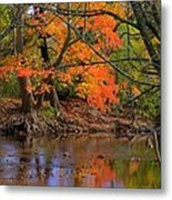 Fire In The Creek A1 - Owens Creek Near Loys Station Covered Bridge - Autumn Frederick County Md Metal Print