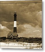 Fire Island Light In Sepia Metal Print