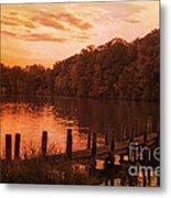 Fire On Lake Newport  Metal Print