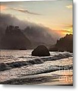 Fire Over The Sea Stacks Metal Print by Adam Jewell