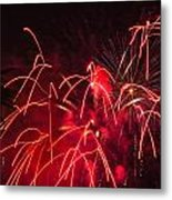 Fire Red Orange Fireworks Galveston Metal Print by Jason Brow