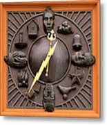 Fire Station Clock Metal Print