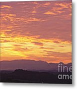 Fire Sunset Over Smoky Mountains Metal Print
