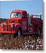 Fire Truck In The Cotton Field Metal Print