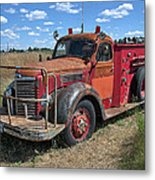 Fire Truck International Harvester C. 1946 Metal Print
