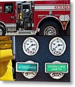 Fire Truck With Isolated Views Metal Print