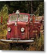 Fire Truck With Texture Metal Print