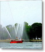 Fireboat Water Show On Long Island Sound Metal Print
