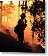 Firefighter At Night On The White Draw Fire Metal Print