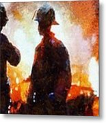 Firefighters At The Scene Metal Print