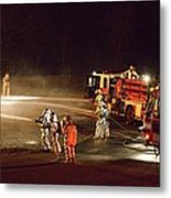 Firefighters At Work Metal Print