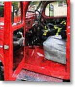 Fireman - Fire Truck With Fireman's Uniform Metal Print