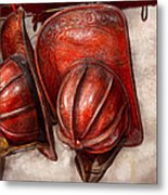 Fireman - Hat - Old Fashioned Fire Hats  Metal Print by Mike Savad