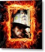 Fireman Hero Metal Print
