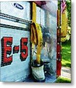 Fireman - Hose In Bucket On Fire Truck Metal Print