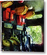 Fireman - Inside The Fire Truck Metal Print