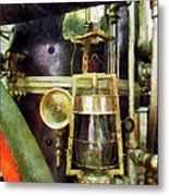 Fireman - Lantern On Fire Truck Metal Print