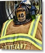 Fireman Turnout Gear Lieutenant Metal Print