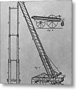 Fireman's Hydraulic Lift Patent Drawing Metal Print