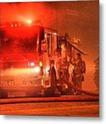 Firemen At Work Metal Print by Donald Torgerson
