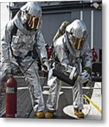 Firemen Confirm A Simulated Fire Metal Print