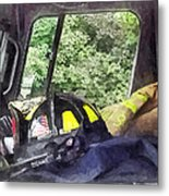 Firemen - Helmet Inside Cab Of Fire Truck Metal Print by Susan Savad