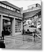 firemen hosing down Vancouver fire rescue services hall 2 in downtown eastside  BC Canada Metal Print
