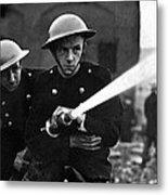 Firemen Training In A Combined War Metal Print