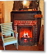 The Family Hearth - Fireplace Old Rocking Chair Metal Print
