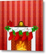 Fireplace Christmas Decoration Wth Stockings And Wallpaper Metal Print