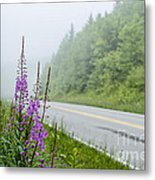 Fireweed And Fog Scenic Highway Metal Print