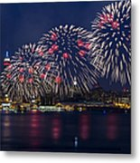 Fireworks And Full Moon Over New York City Metal Print by Susan Candelario