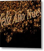 Fireworks Feliz Ano Nuevo In Elegant Gold And Black Metal Print